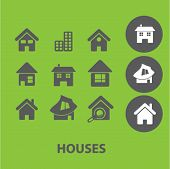 houses signs: building, home icons set, vector