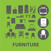 furniture signs: desk, tv, sofa, cupboard, wood, kitchen icons set, vector