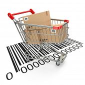 Shopping cart with purchases on bar code. 3d