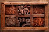 old spicy box full of chocolate - cocoa and sugar, cocoa beans, grated chocolate, hot chocolate flak