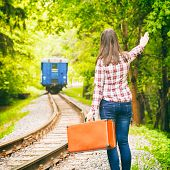 Departing Train, Young Woman Waving His Hand