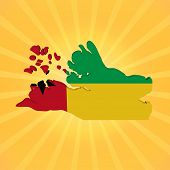 Guinea Bissau map flag on sunburst illustration