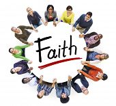 Multi-Ethnic Group of People Holding Hands and Faith Concept