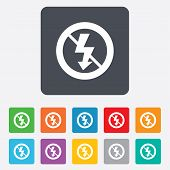 No Photo flash sign icon. Lightning symbol.