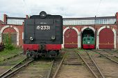 L-2331 Steam Locomotive And Diesel Locomotive At Depot, Moscow, Russia