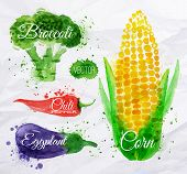 stock photo of cucumbers  - Vegetables set drawn watercolor blots and stains with a spray corn - JPG