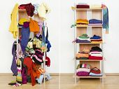 stock photo of untidiness  - Messy clothes thrown on a shelf and nicely arranged clothes in piles - JPG