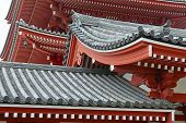 Traditional Japanese architecture at Sensoji Temple in Asakusa, Tokyo, Japan