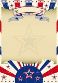 Patriotic parchment background. A vintage patriotic poster with a texture and a large dirty frame fo