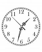 stock photo of arabic numerals  - Dainty line drawing of a round dial clock face with Arabic numerals and hour - JPG