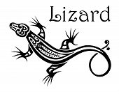 picture of lizards  - Stylized modern black and white calligraphic Lizard icon with a swirling tail and the text  - JPG