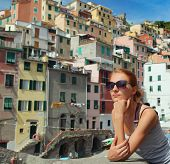 young tourist woman in Riomaggiore