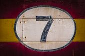 Old painted signs with  numerals. Part of a series of numerals.