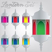 Arabesque Lantern Set In Vector Format.
