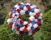 Wreath on Memorial Day at military memorial in New York