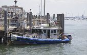 NYPD boat providing security at Sheepshead Bay in Brooklyn