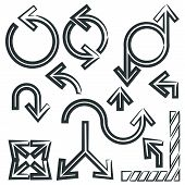 stock photo of contortion  - various shape of sketch arrow sign set - JPG