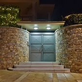 Contemporary house entrance night view