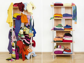image of apparel  - Messy clothes thrown on a shelf and nicely arranged clothes in piles - JPG