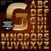 Shiny font of gold and diamond vector illustration. Compact normal. File contains graphic styles available in Illustrator