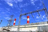 picture of chp  - Industrial plant with high chimneys and power lines - JPG