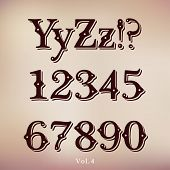 Retro Vintage Style Brown Chocolate Font. Set Vol.4