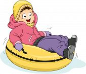 Illustration Featuring a Little Girl Riding a Snow Tube