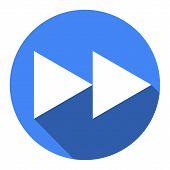 Glossy Multimedia Icon Blue Forward