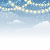 Christmas winter background with electric garland and decorations