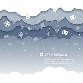 Cloud paper shape and snowfall, winter season background. Vector illustration.