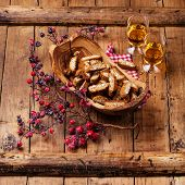 Cantucci In Olive Wood Bowl On Wooden Background