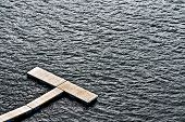 picture of pontoon boat  - Wood boat pontoon in river water closeup - JPG