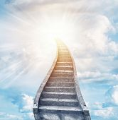 image of stairway  - Stairway leading up to bright light  - JPG