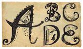 Curly Playful Alphabet - Hand Drawn Vector - Part: A-e