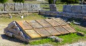box grave consisting of five calcareous plates in Paestum Italy
