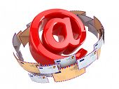 E-mail concept. At symbol and envelopes isolated on white background. 3d