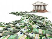 Finance concept. Euro and bank building. 3d