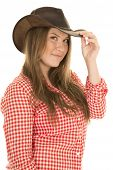 Cowgirl Red White Shirt Hat One Hand On Brim