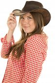 Cowgirl Red White Shirt Hat Touch Brim Smile