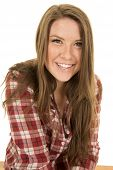 Woman Close Red Plaid Shirt Big Smile