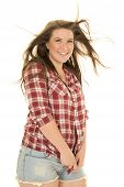 Woman Plaid Shirt Hair Blow Smile Hold Shirt