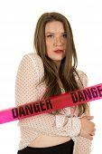 Woman See Through Shirt Red Bra Danger Serious