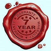 7 Year warranty quality label guaranteed product red wax seal stamp
