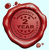 2 Year warranty quality label guaranteed product red wax seal stamp