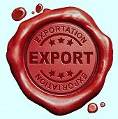 export international trade and exportation in a global economy freight transportation red wax seal stamp button
