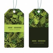 Vector evergreen christmas tree vertical stripe frame pattern tags set