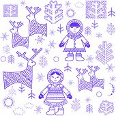 Winter wallpaper with Eskimo. Raster copy