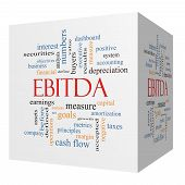 Ebitda 3D Cube Word Cloud Concept