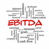 Ebitda Word Cloud Red Caps Concept