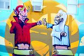 Street art Montreal devil and god